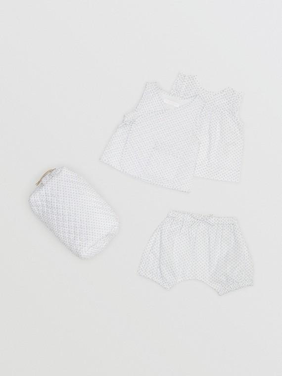 폴카 도트 코튼 3피스 베이비 선물 세트 (내추럴 화이트)
