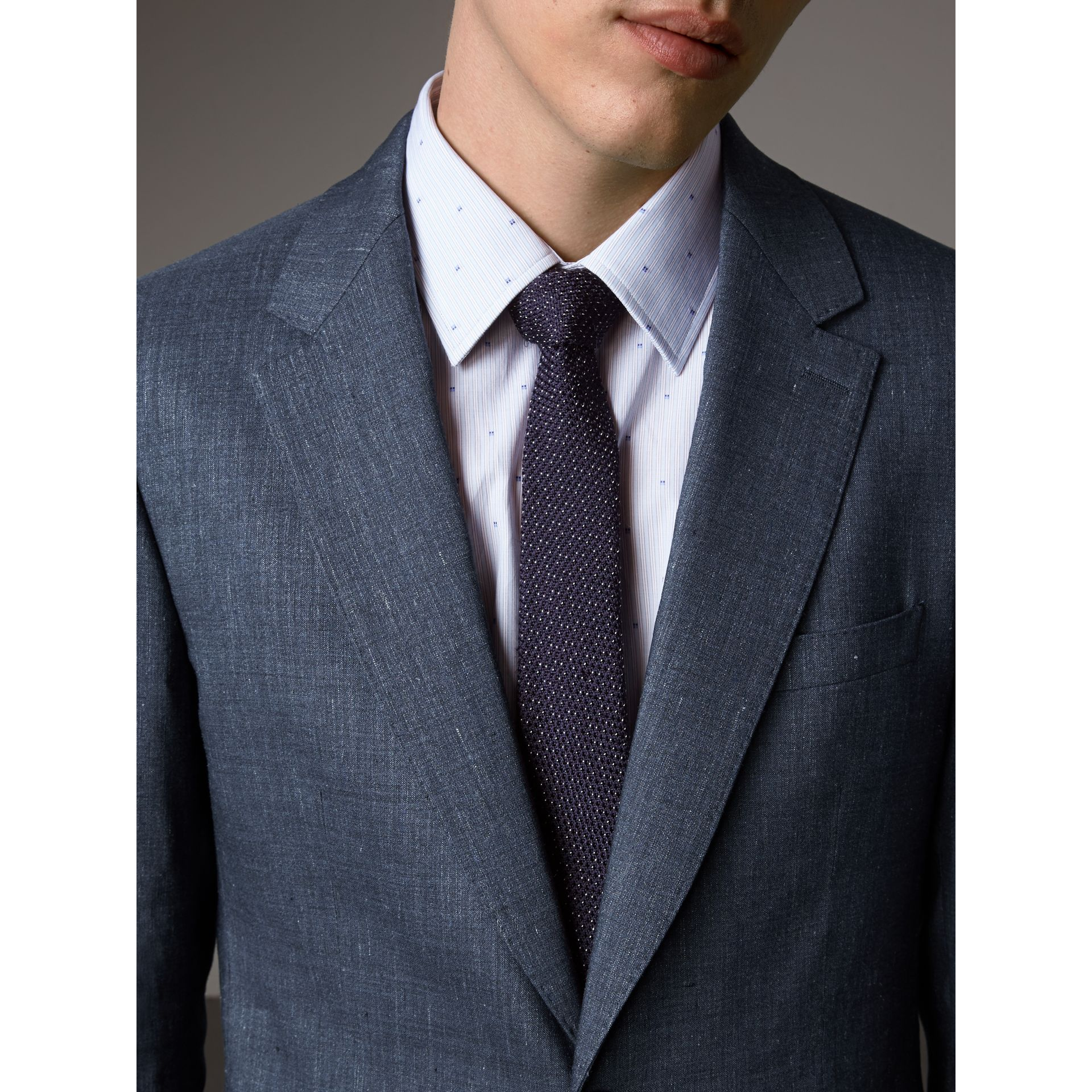 Modern Fit Travel Tailoring Linen Wool Suit in Slate Blue - Men | Burberry - gallery image 5
