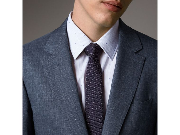 Modern Fit Travel Tailoring Linen Wool Suit in Slate Blue - Men | Burberry - cell image 4
