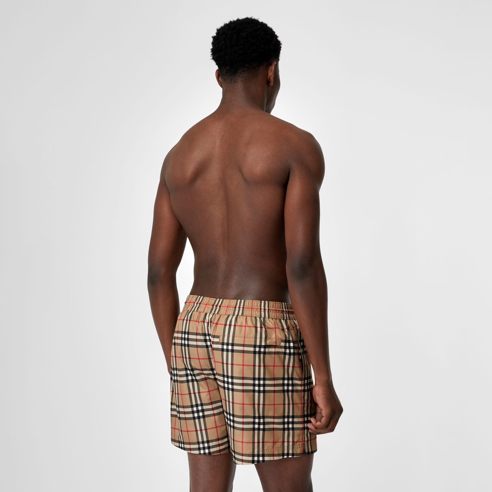 Vintage Check Drawcord Swim Shorts in Archive Beige - Men | Burberry United Kingdom - gallery image 1