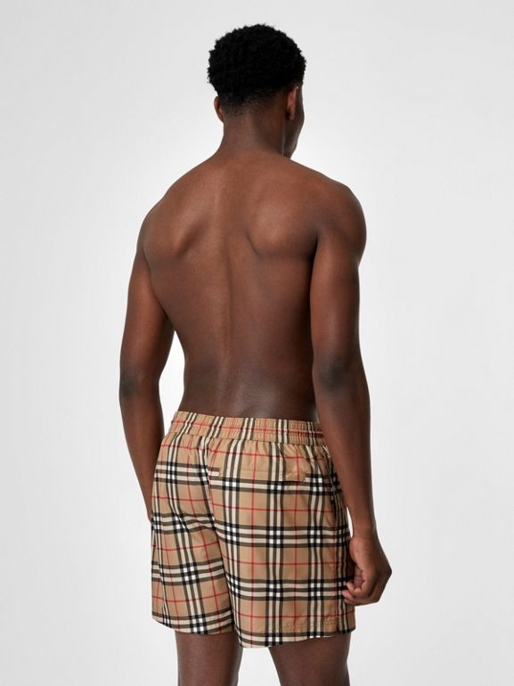 Vintage Check Drawcord Swim Shorts in Archive Beige - Men | Burberry United Kingdom - cell image 1