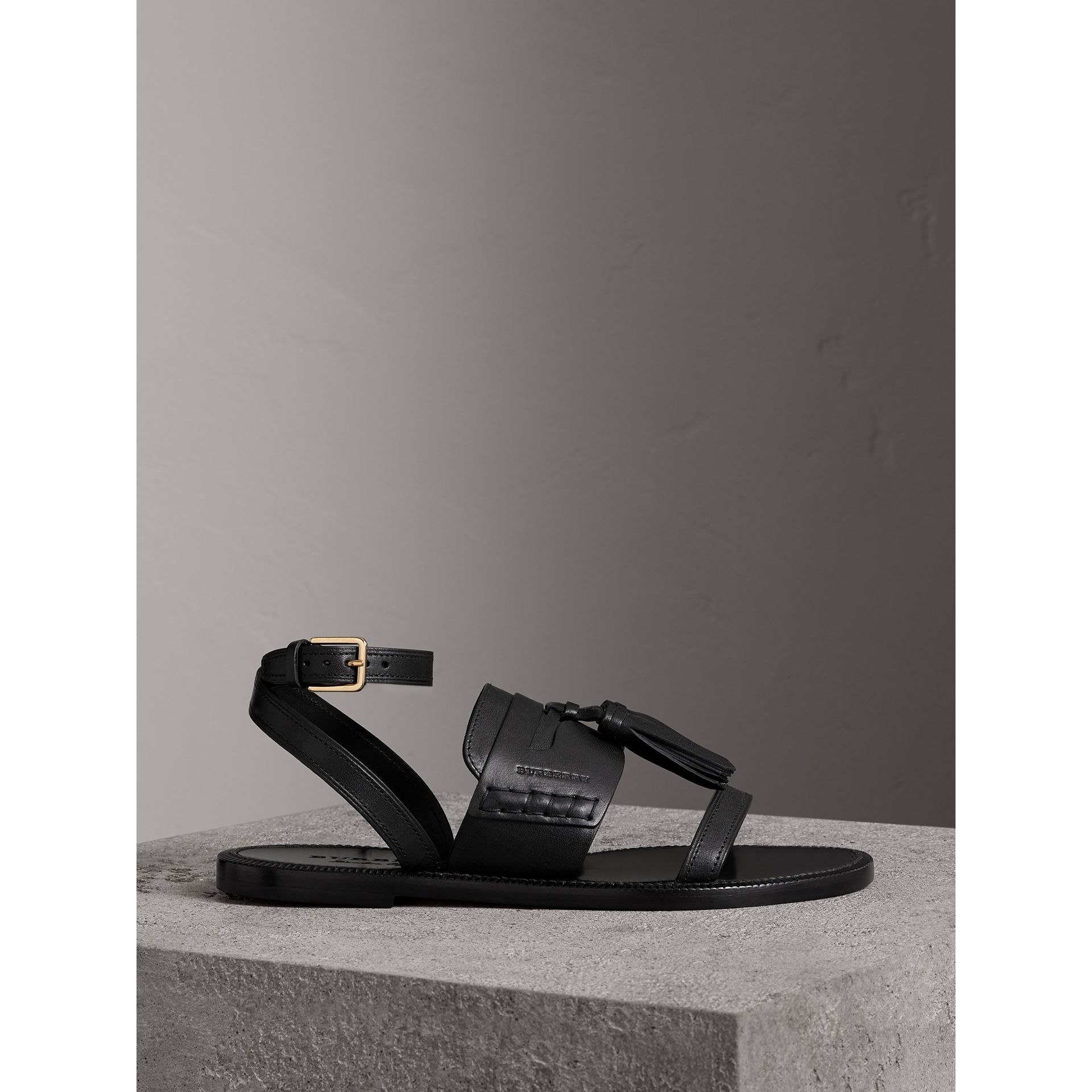 Tasselled Leather Sandals in Black - Women | Burberry Canada - gallery image 4