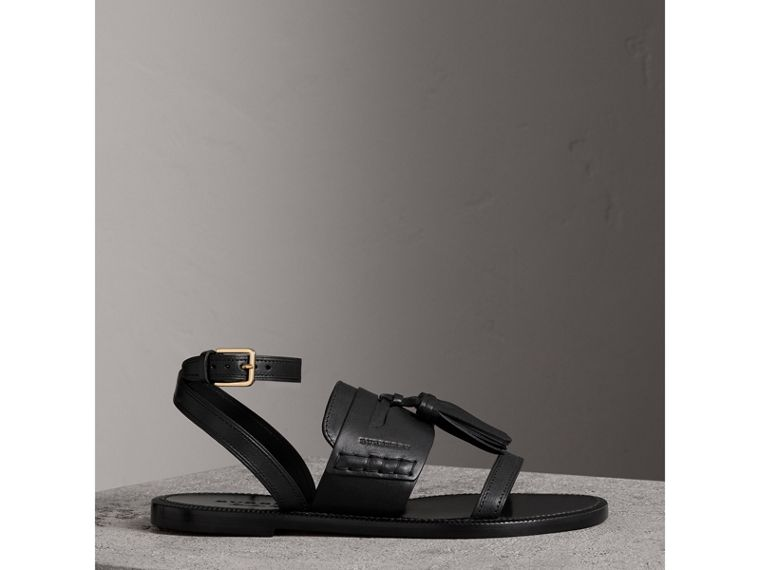 Tasselled Leather Sandals in Black - Women | Burberry Canada - cell image 4