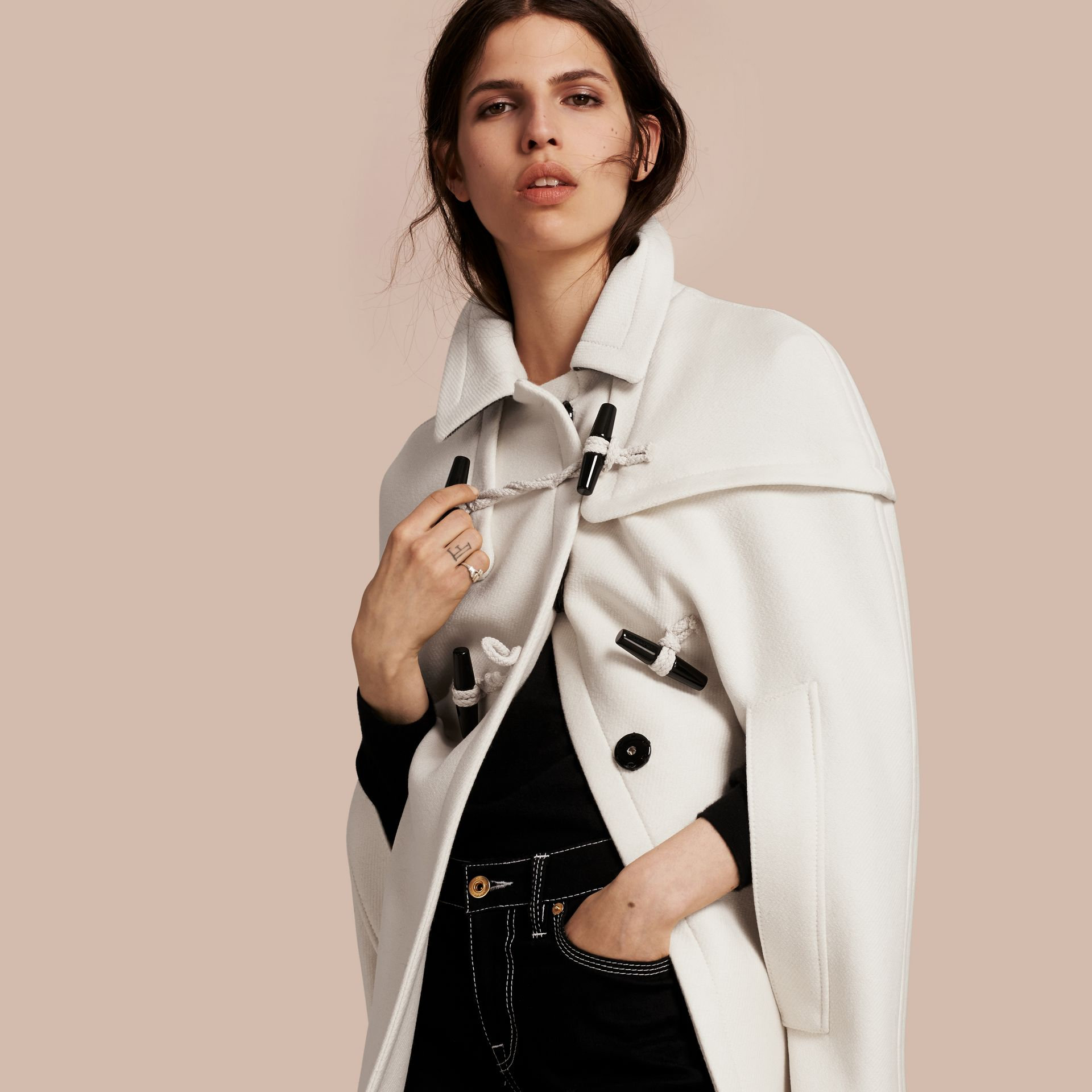 Natural white Wool Cashmere Duffle Cape Coat Natural White - gallery image 1