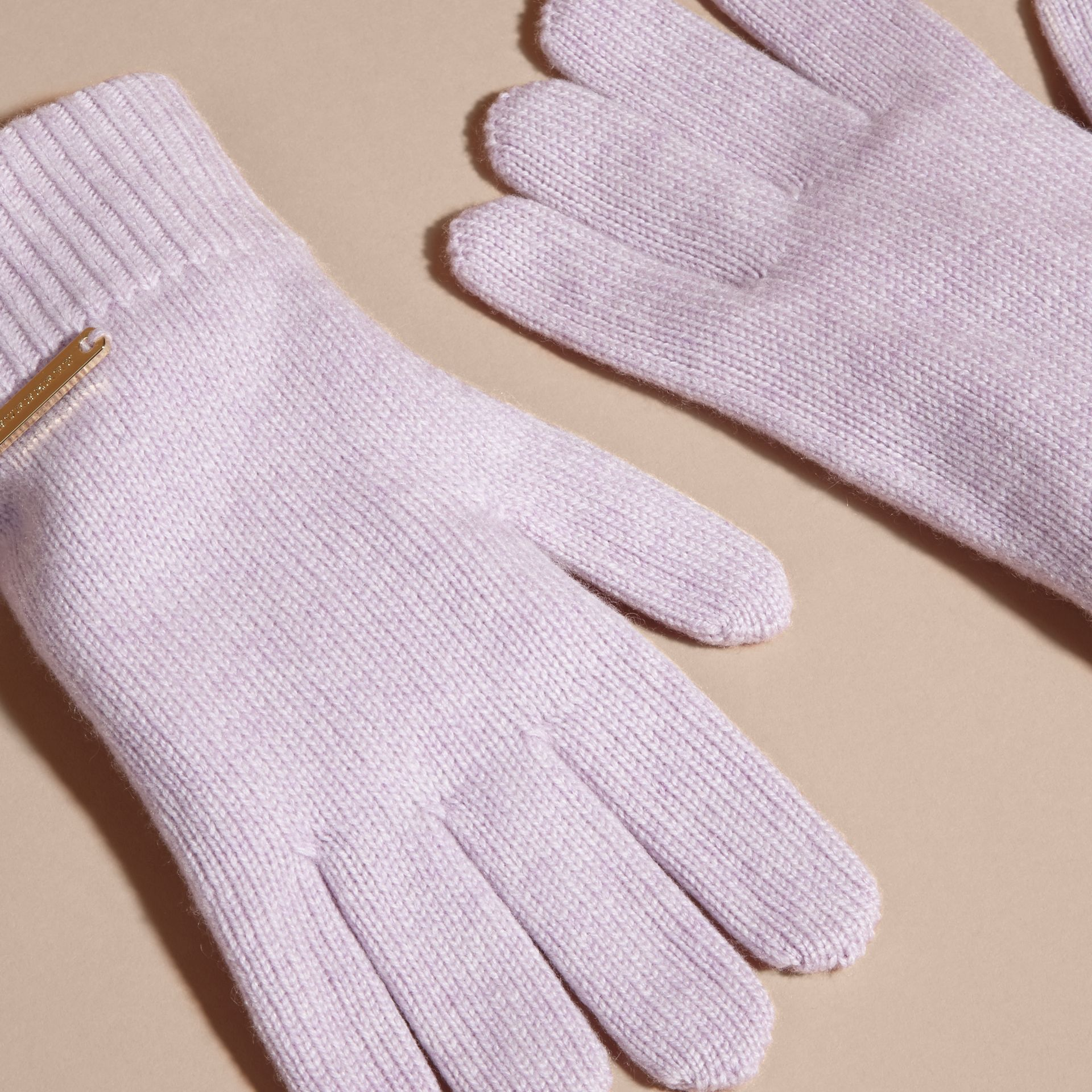 Ribbed Knit Wool Cashmere Gloves Dusty Lilac - gallery image 3