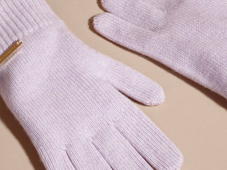 Ribbed Knit Wool Cashmere Gloves Dusty Lilac - cell image 2