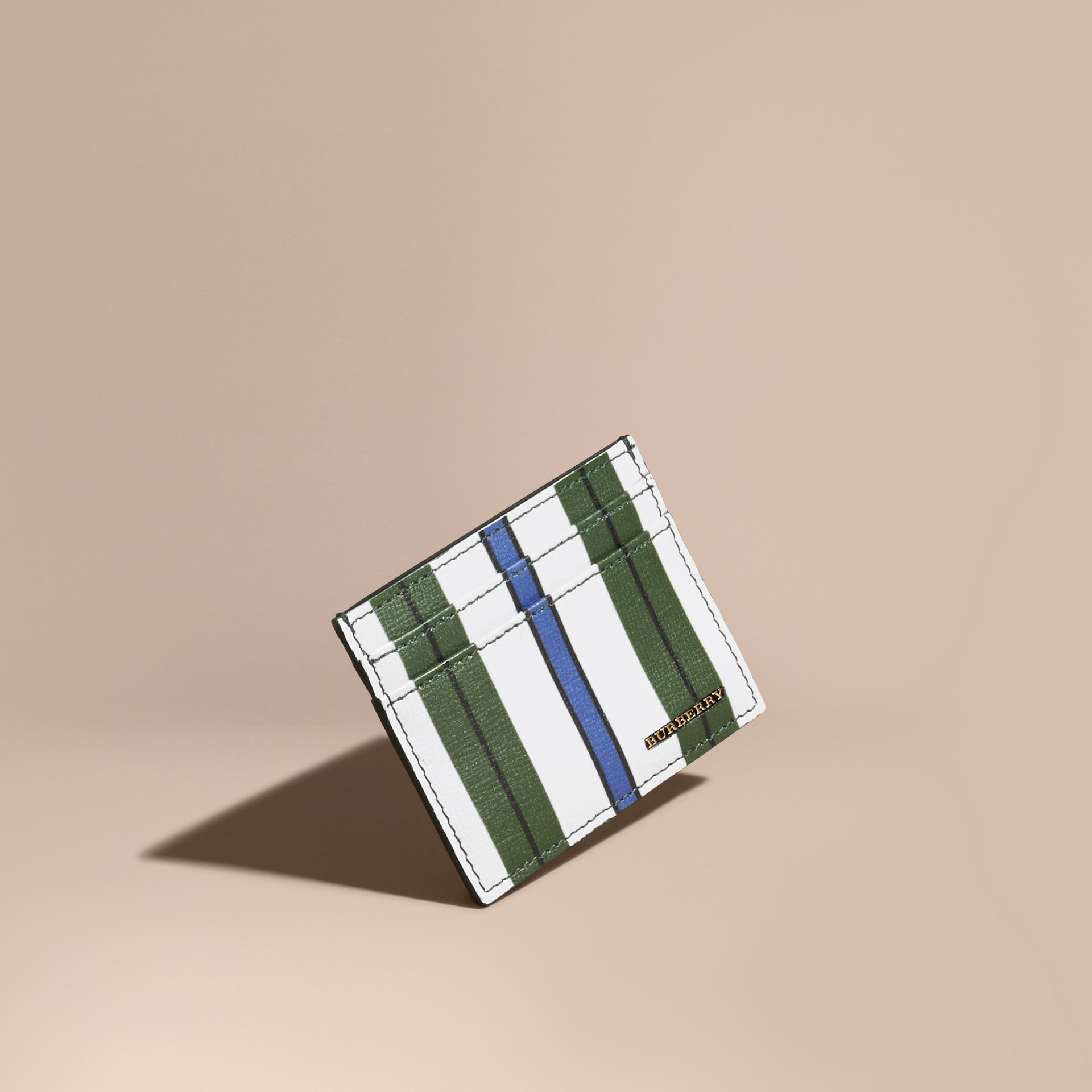 Pyjama Stripe London Leather Card Case Olive Green - gallery image 1