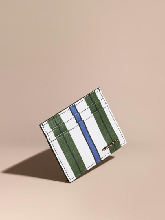 Pyjama Stripe London Leather Card Case in Olive Green