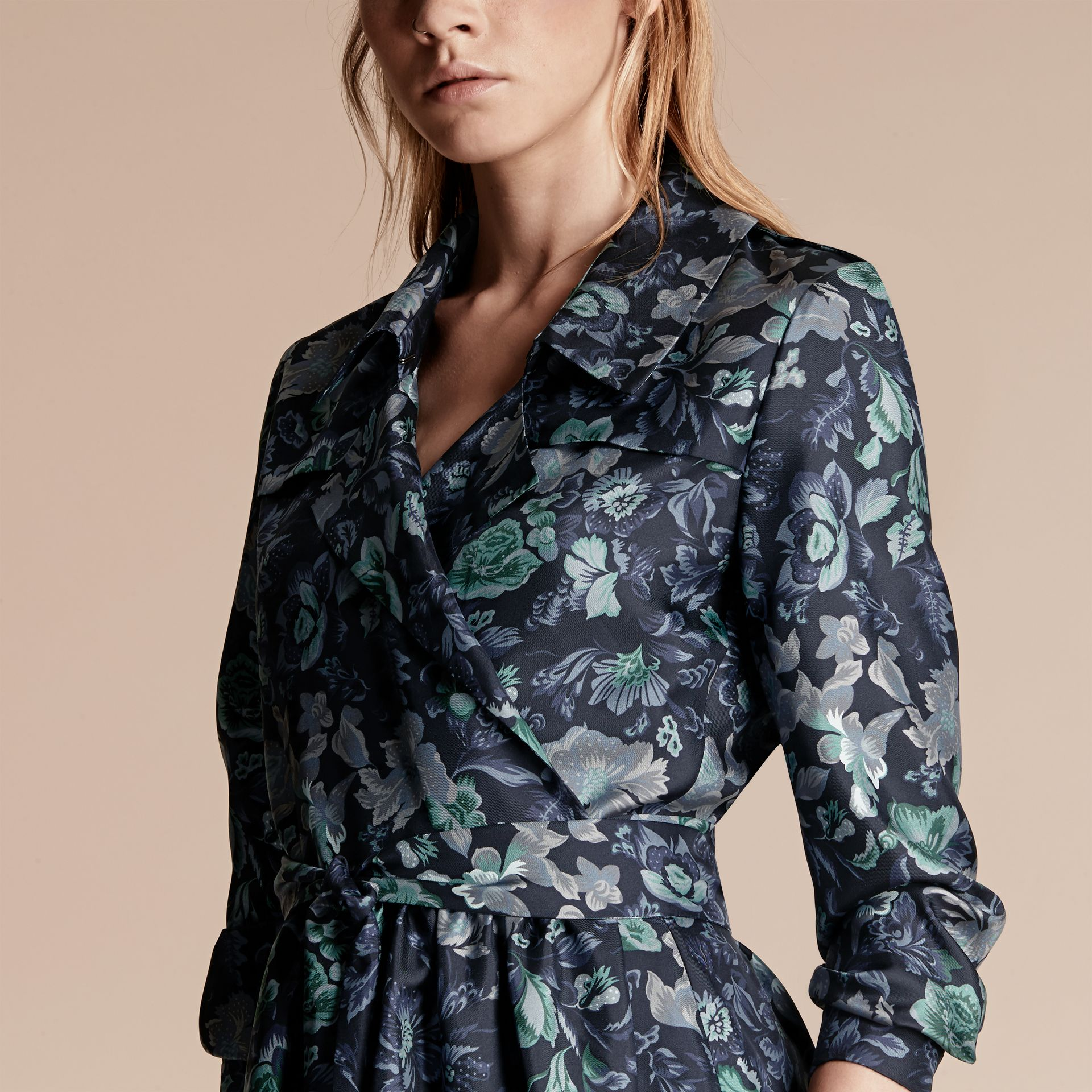 Navy Garden Floral Print Silk Wrap Trench Dress - gallery image 5