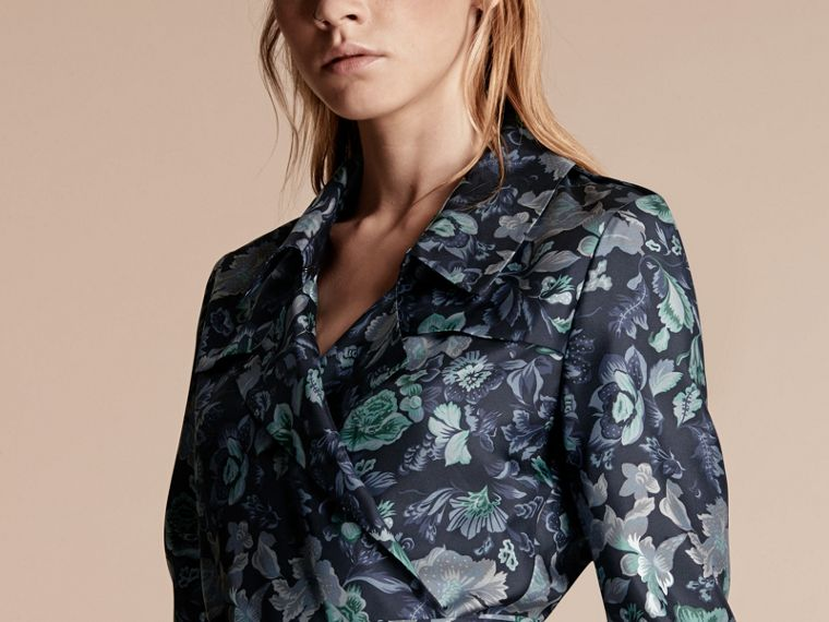 Navy Garden Floral Print Silk Wrap Trench Dress - cell image 4