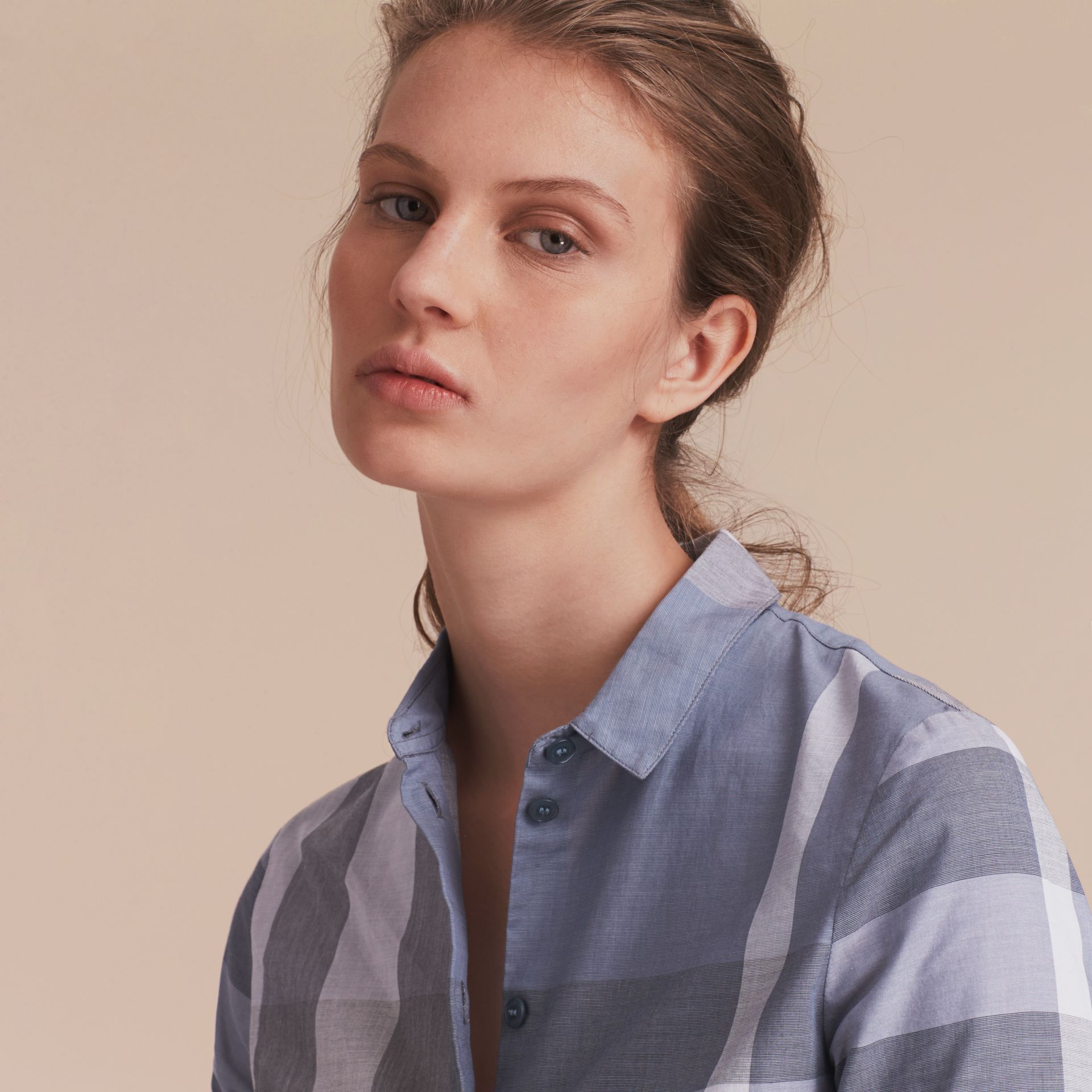 Check Cotton Shirt in Canvas Blue - Women | Burberry Hong Kong - gallery image 4
