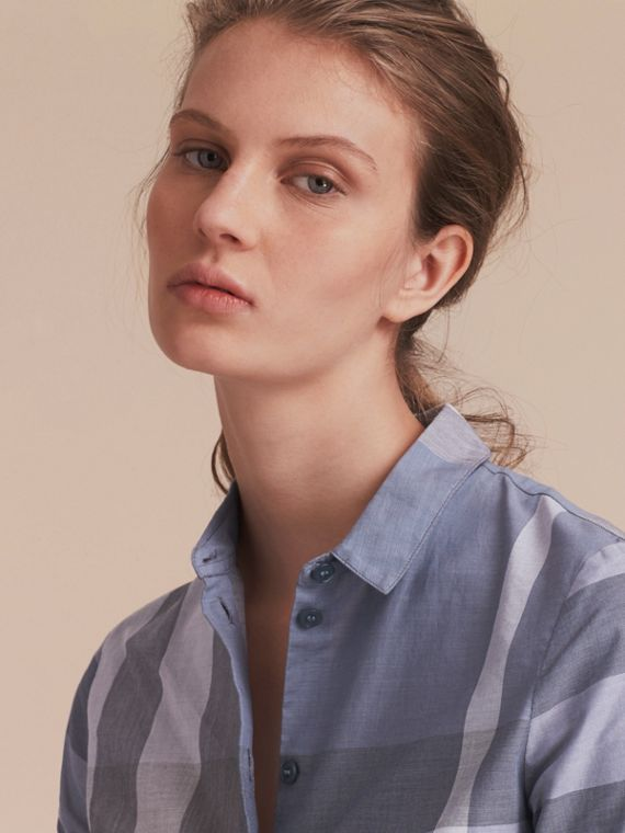Check Cotton Shirt in Canvas Blue - Women | Burberry - cell image 3