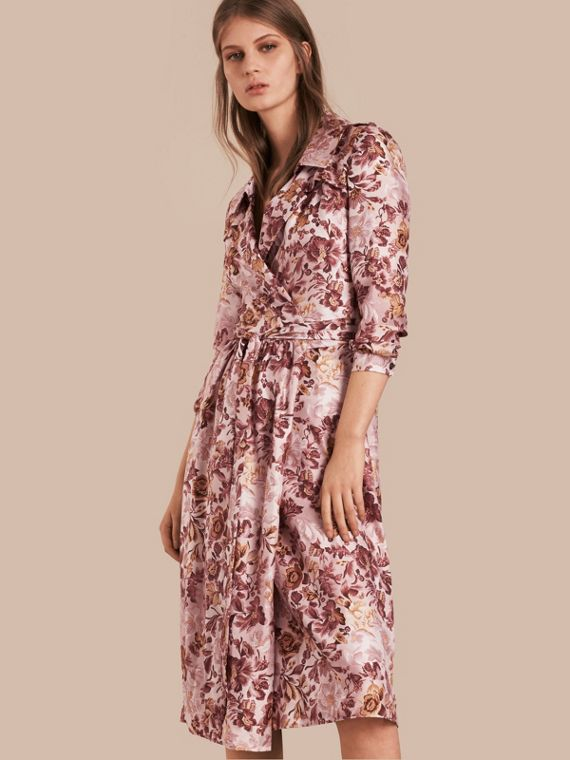 Garden Floral Print Silk Wrap Trench Dress in Pink Heather