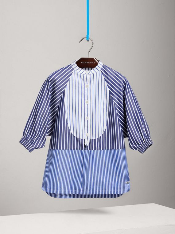 Contrasting Stripe Cotton Shirt Dress in Navy/white