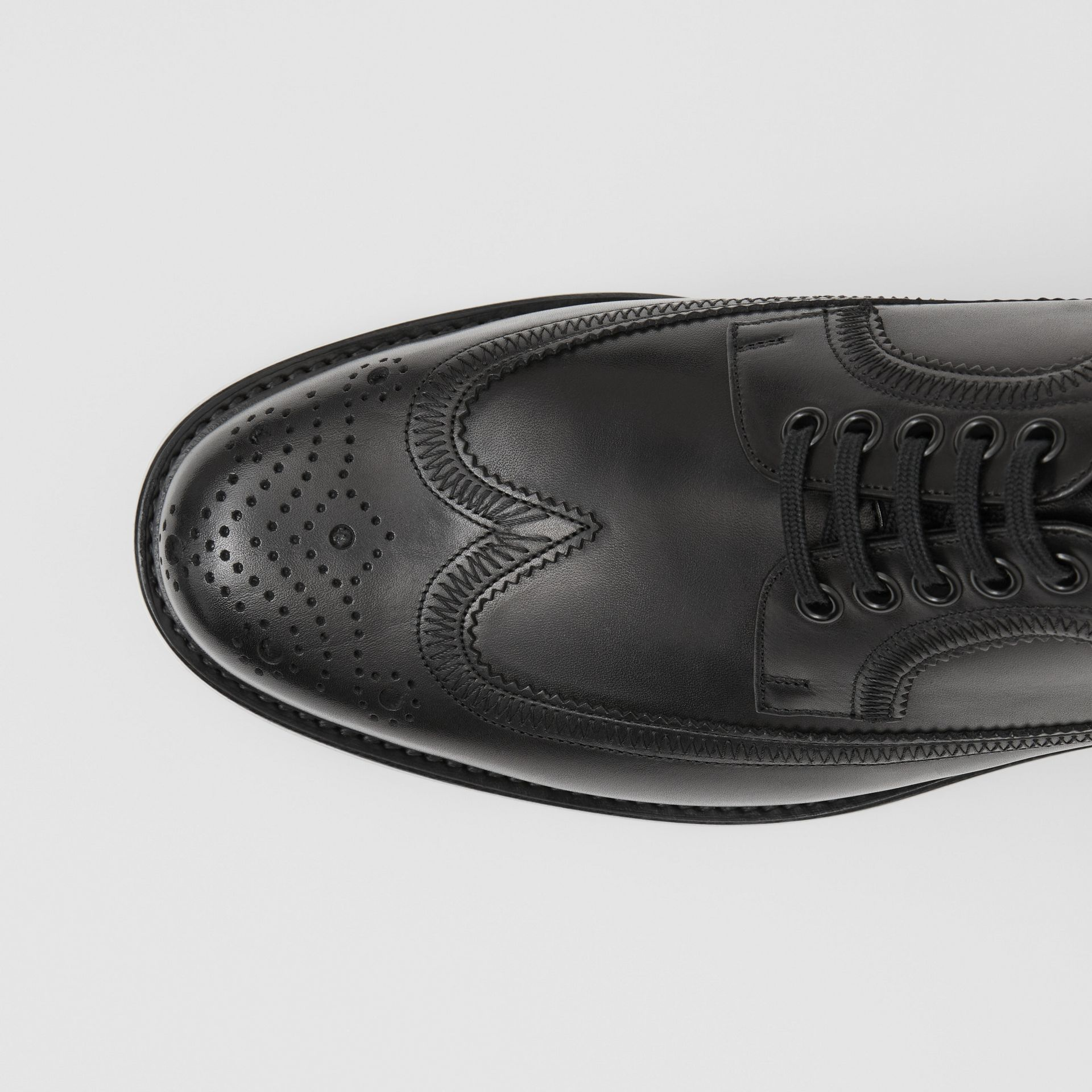 Brogue Detail Leather Derby Shoes in Black - Men | Burberry Canada - gallery image 1