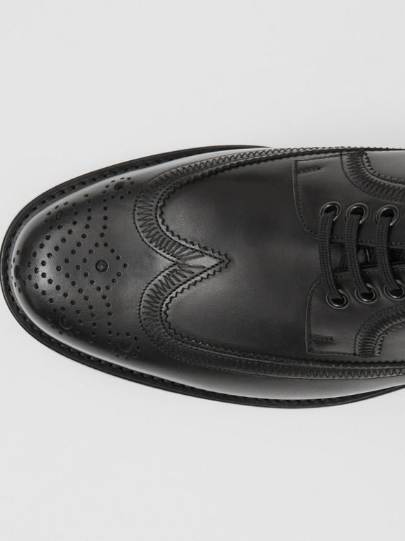 Brogue Detail Leather Derby Shoes in Black - Men | Burberry - cell image 1