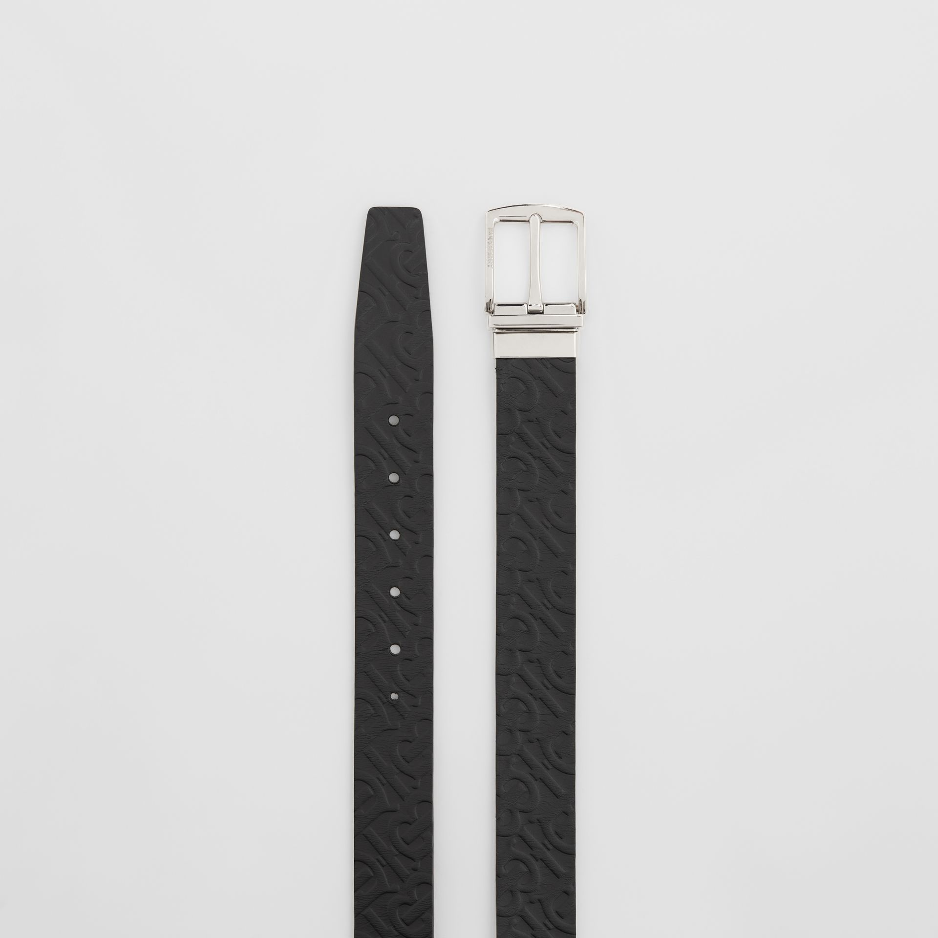 Reversible Monogram Leather Belt in Black - Men | Burberry United Kingdom - gallery image 5