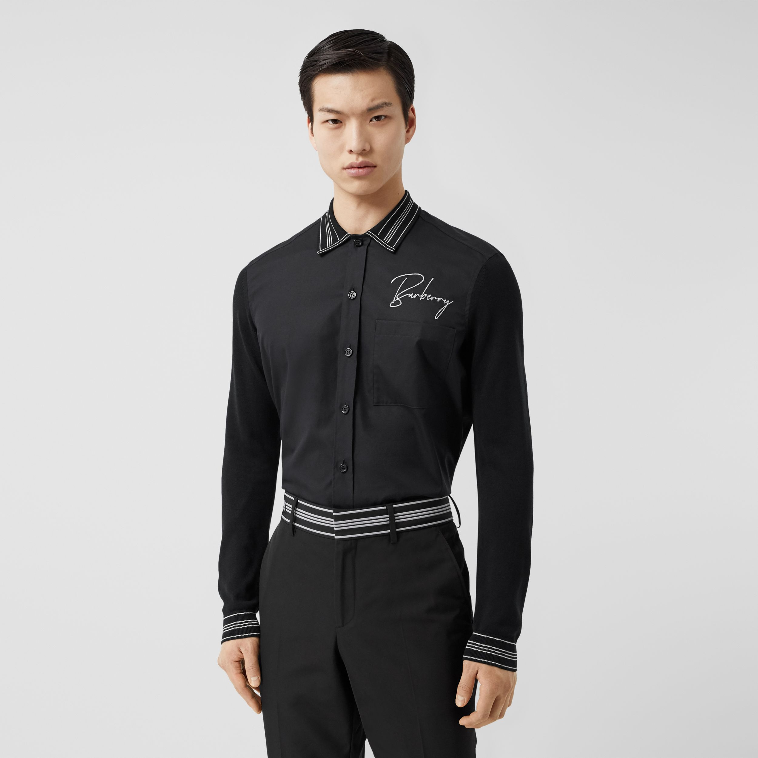 Silk Detail Logo Embroidered Cotton Poplin Shirt in Black - Men | Burberry - 1