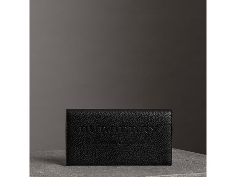 Embossed Leather Continental Wallet in Black - Women | Burberry Australia - cell image 4