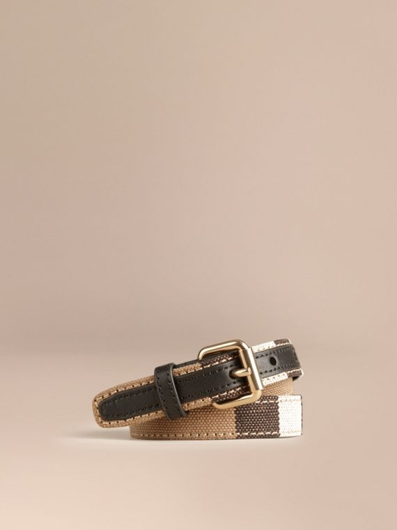 Canvas Check and Leather Belt in Black