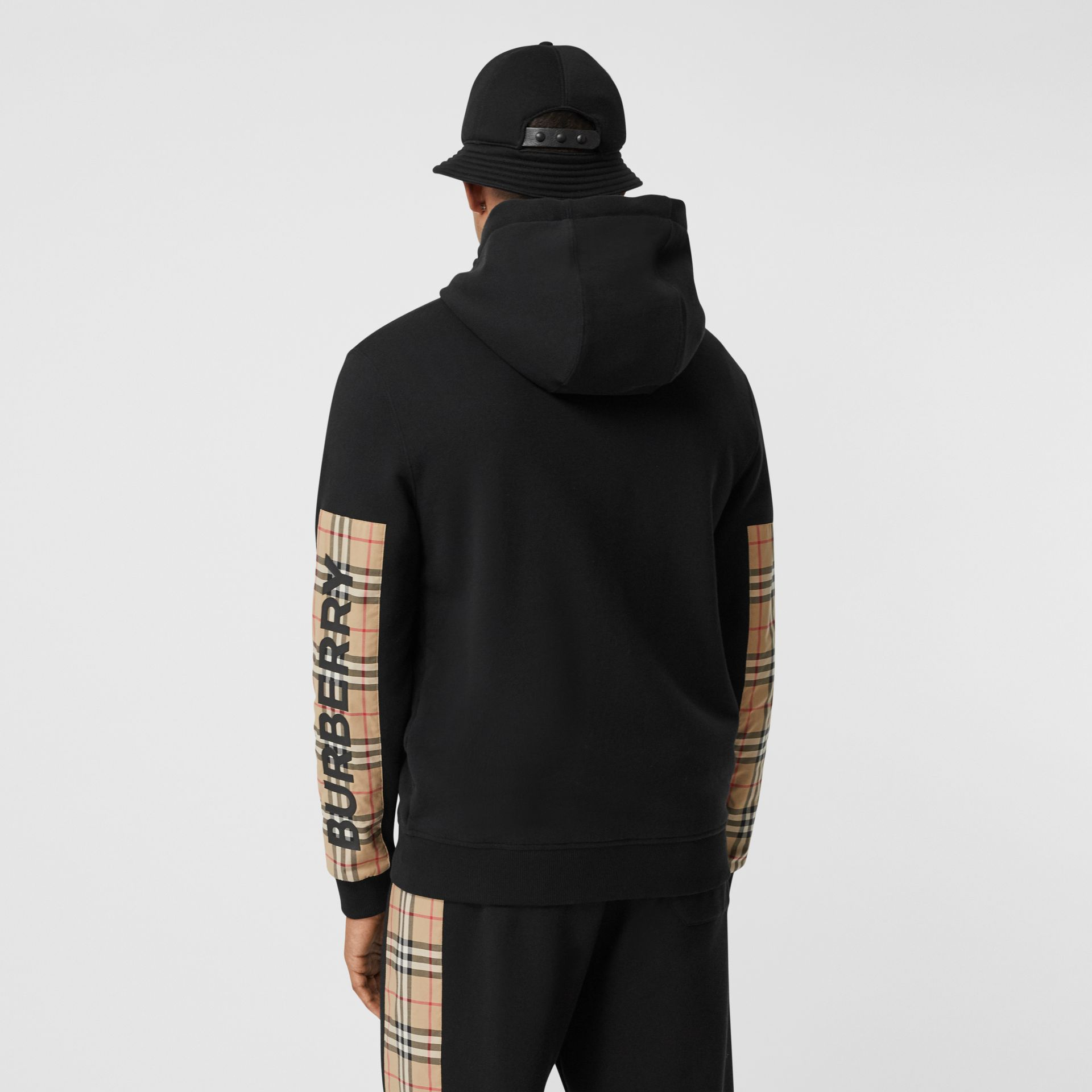 Logo Print Vintage Check Panel Cotton Hooded Top in Black - Men | Burberry United Kingdom - gallery image 2