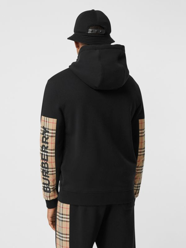 Logo Print Vintage Check Panel Cotton Hooded Top in Black - Men | Burberry United Kingdom - cell image 2