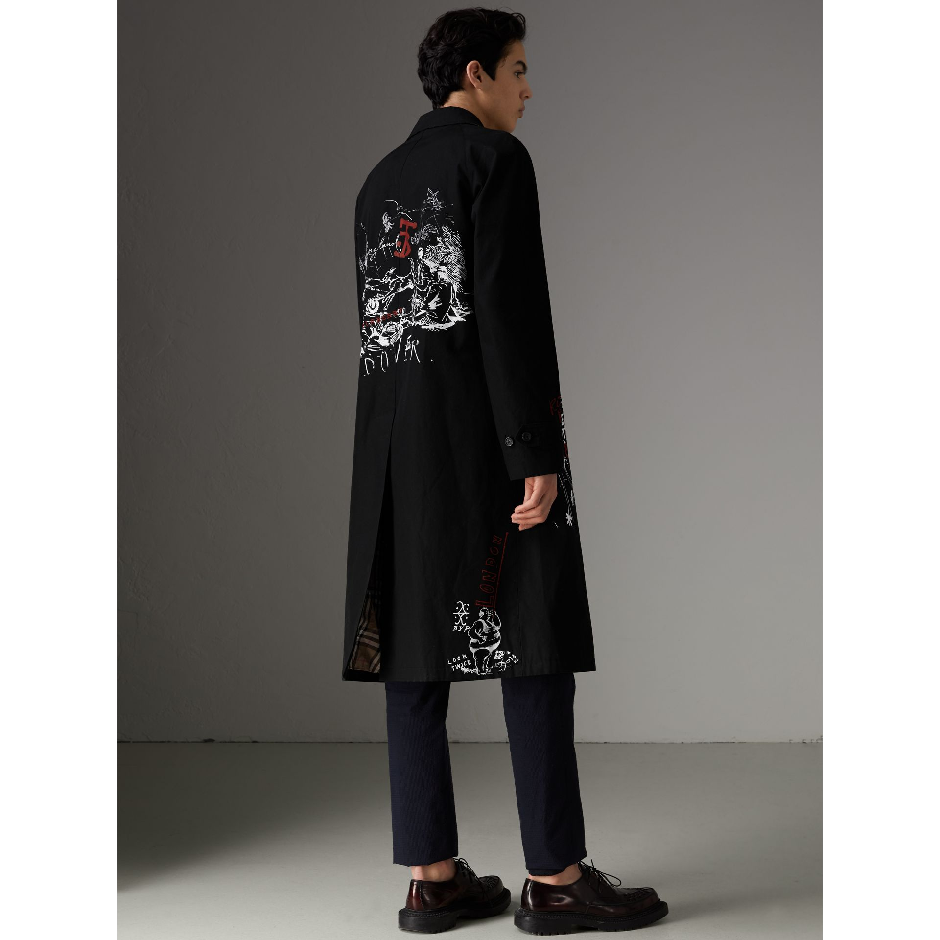 Sketch Print Car Coat in Black - Men | Burberry Australia - gallery image 2