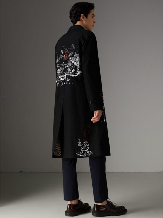 Sketch Print Car Coat in Black - Men | Burberry Hong Kong - cell image 2