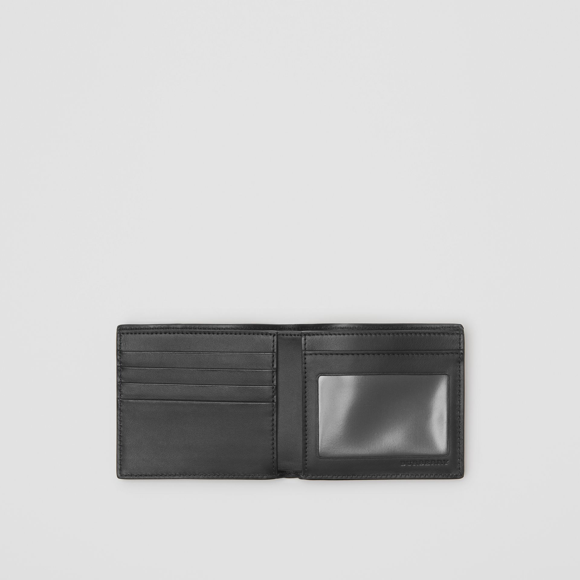 Small Scale Check and Leather ID Wallet in Antique Yellow/black - Men | Burberry - gallery image 2