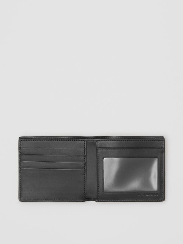 Small Scale Check and Leather ID Wallet in Antique Yellow/black - Men | Burberry Singapore - cell image 2