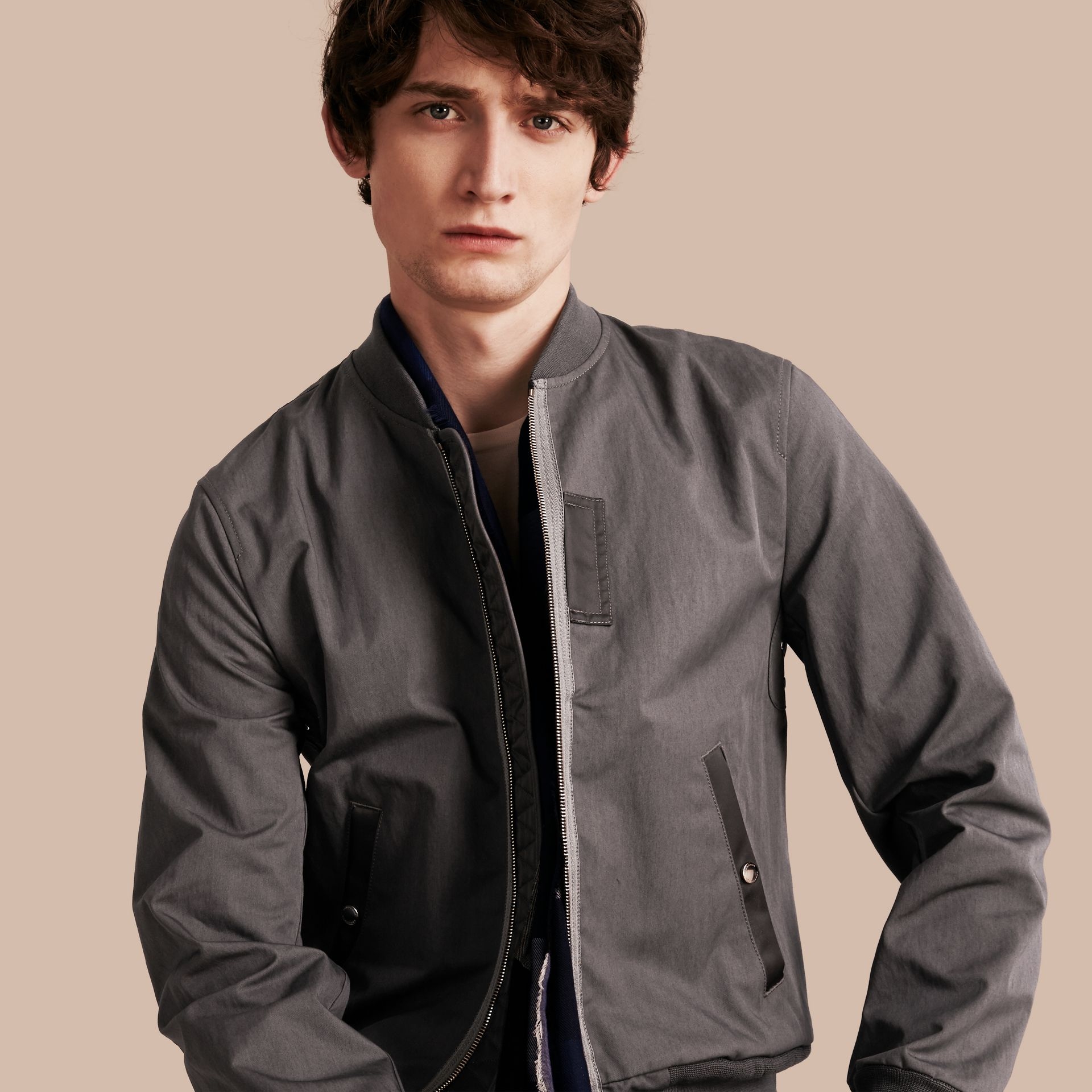 Airforce grey Matte Technical Cotton Bomber Jacket - gallery image 1