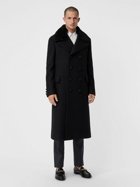 Detachable Shearling Collar Cashmere Chesterfield in Black