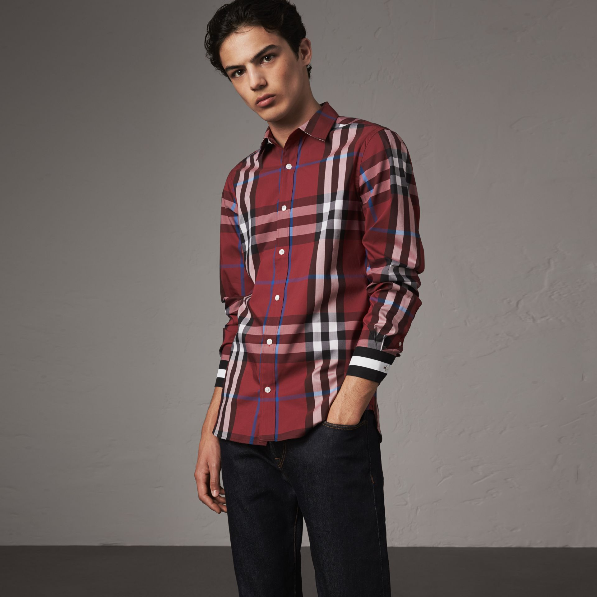Striped Cuff Check Cotton Blend Shirt in Crimson Red - Men | Burberry Australia - gallery image 0