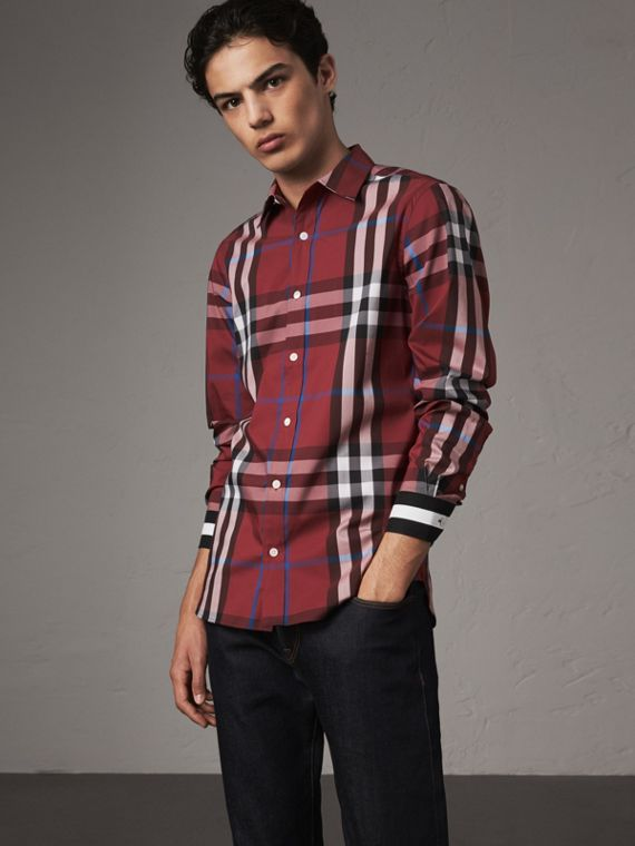 Striped Cuff Check Cotton Blend Shirt in Crimson Red