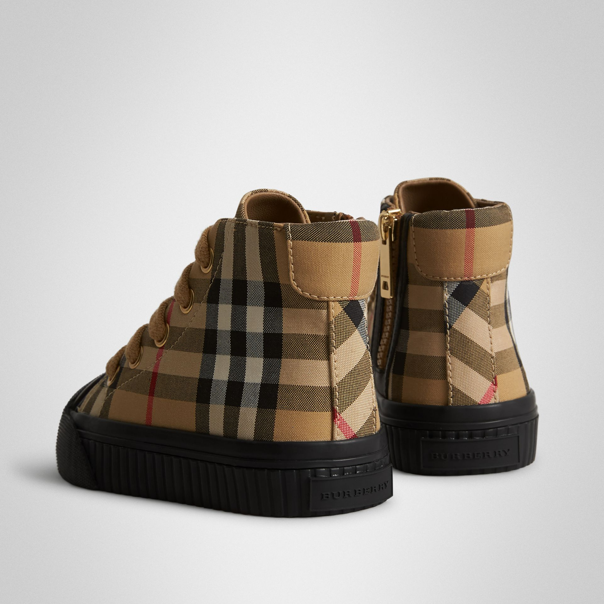 Vintage Check and Leather High-top Sneakers in Antique Yellow/black - Children | Burberry Singapore - gallery image 2