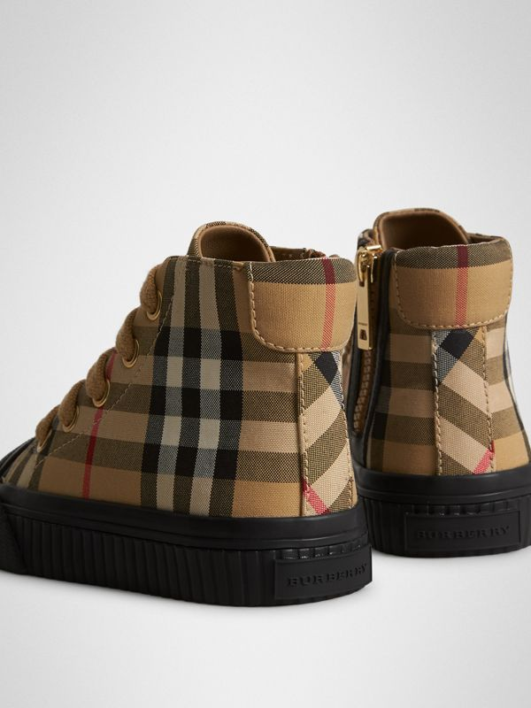 Vintage Check and Leather High-top Sneakers in Antique Yellow/black - Children | Burberry Australia - cell image 2