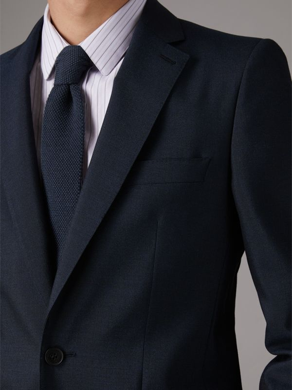 Slim Cut Waffle Knit Wool Tie in Navy - Men | Burberry - cell image 2