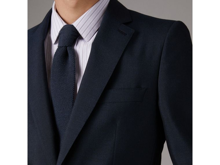 Slim Cut Waffle Knit Wool Tie in Navy - Men | Burberry United States - cell image 2