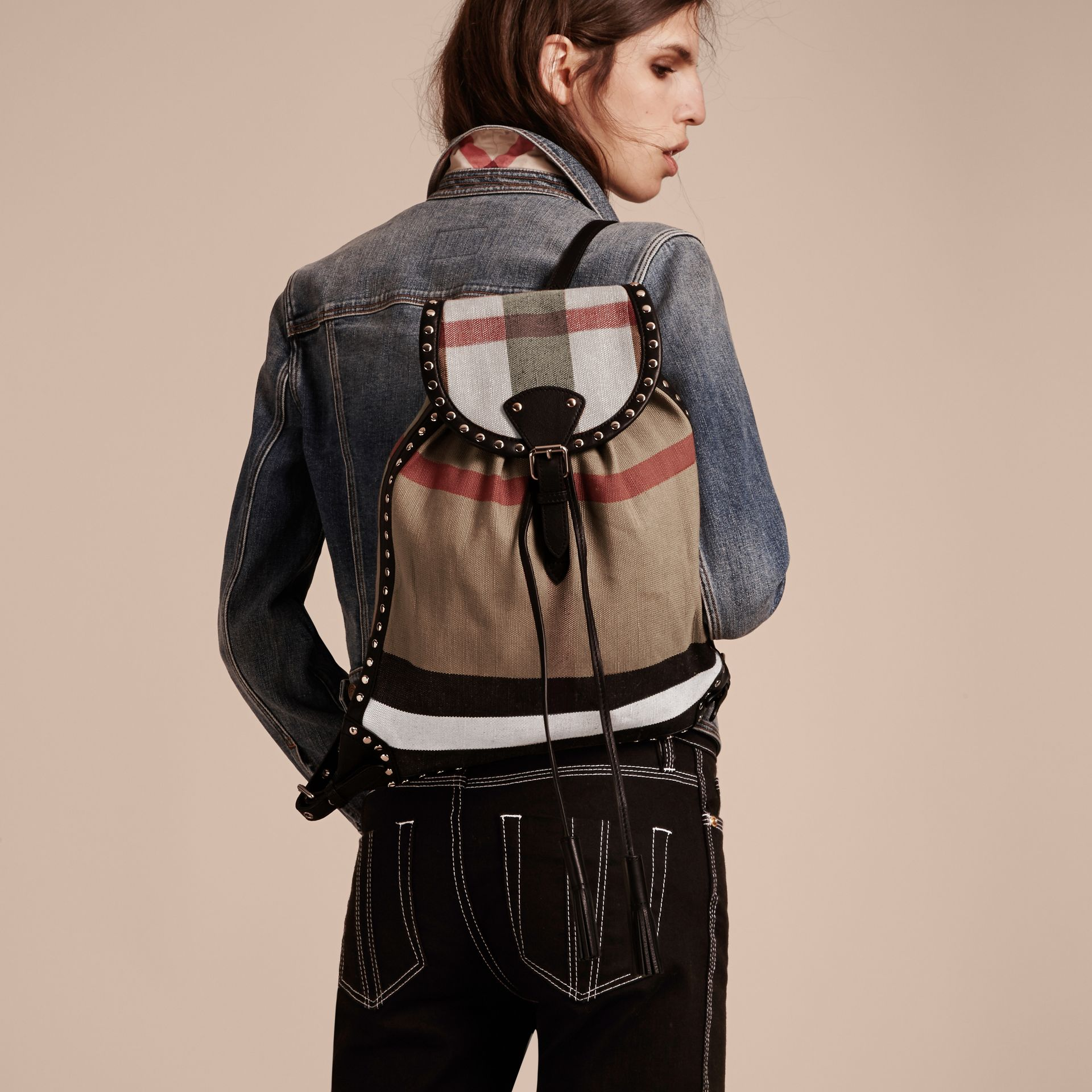 Black Canvas Check Backpack with Studded Leather Trim - gallery image 3