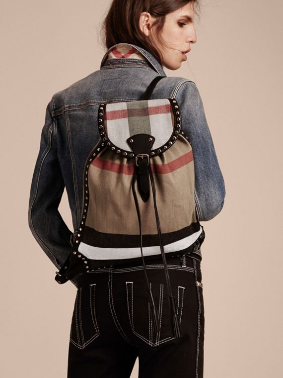 Black Canvas Check Backpack with Studded Leather Trim - cell image 2