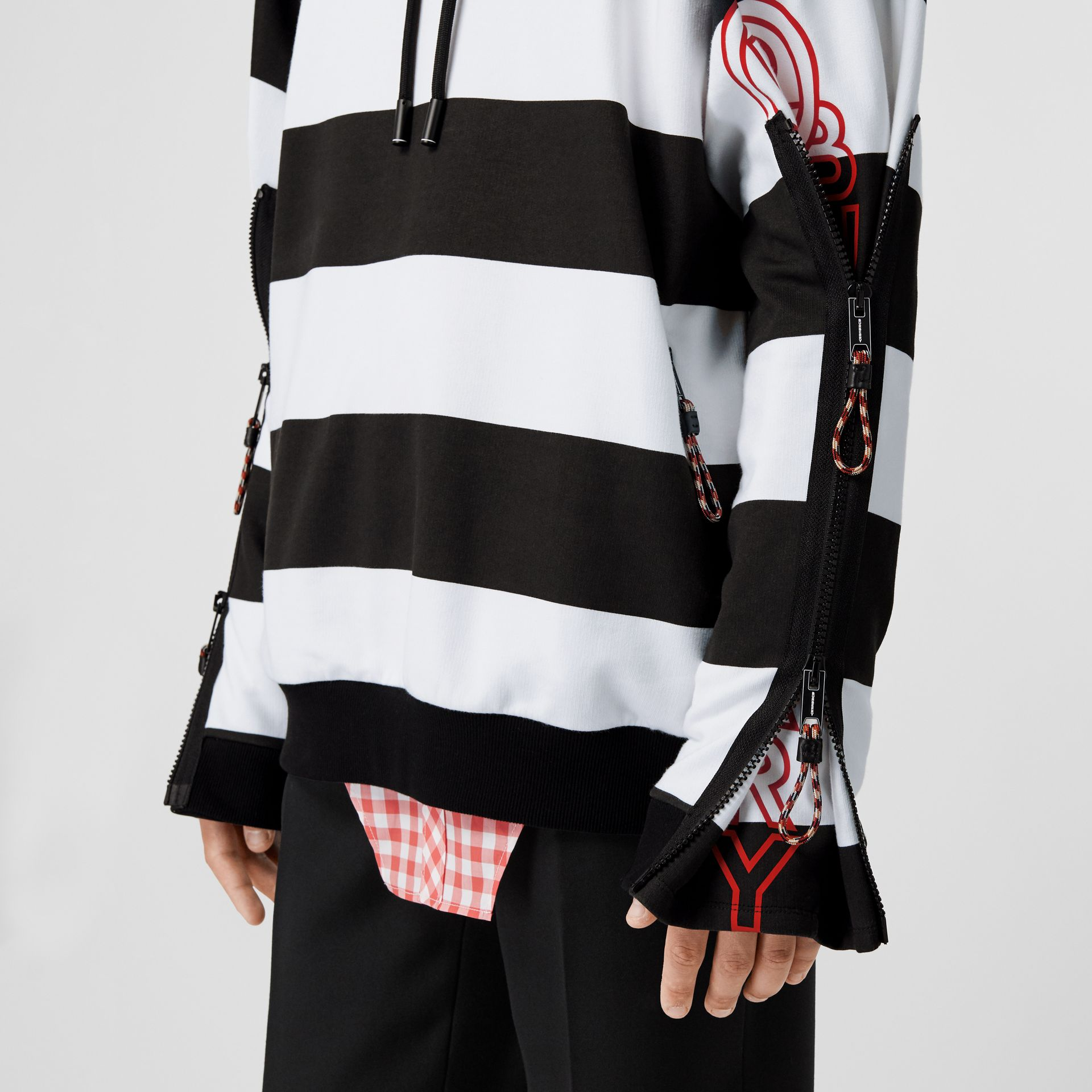 Zip Detail Logo Print Striped Cotton Hoodie in Black/white | Burberry - gallery image 4