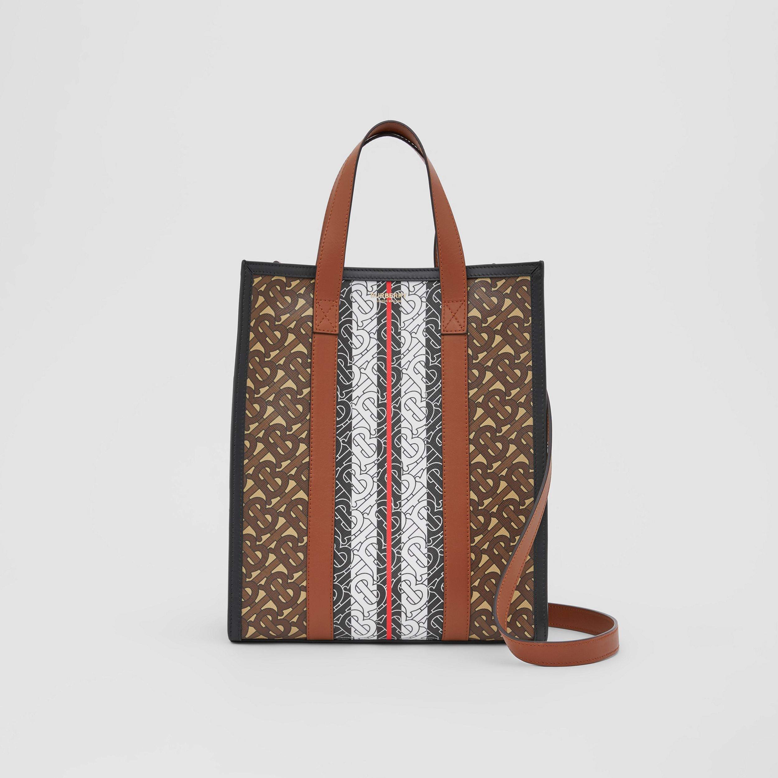 Small Monogram Stripe E-canvas Portrait Tote Bag in Bridle Brown - Women | Burberry Hong Kong S.A.R. - 1