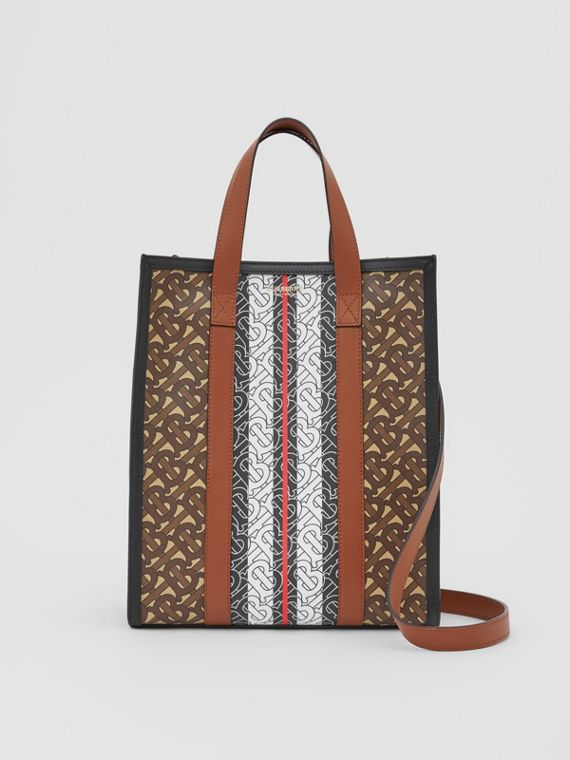 Small Monogram Stripe E-canvas Portrait Tote Bag in Bridle Brown