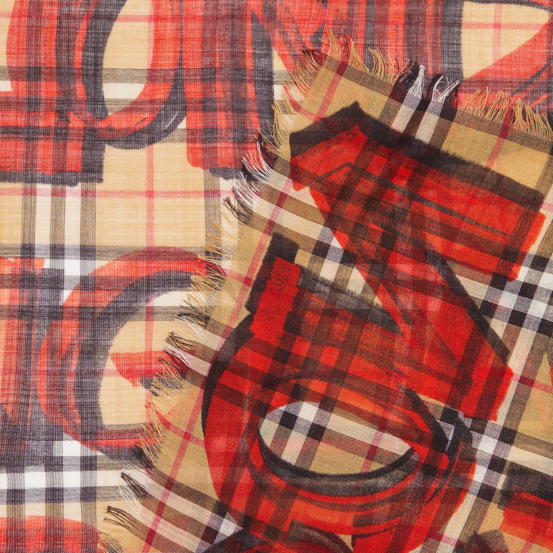 Graffiti Print Check Wool Silk Large Square Scarf in Bright Red | Burberry Singapore - gallery image 1