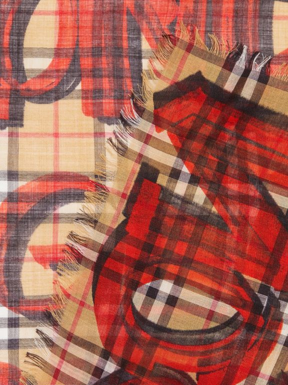 Graffiti Print Check Wool Silk Large Square Scarf in Bright Red | Burberry Singapore - cell image 1