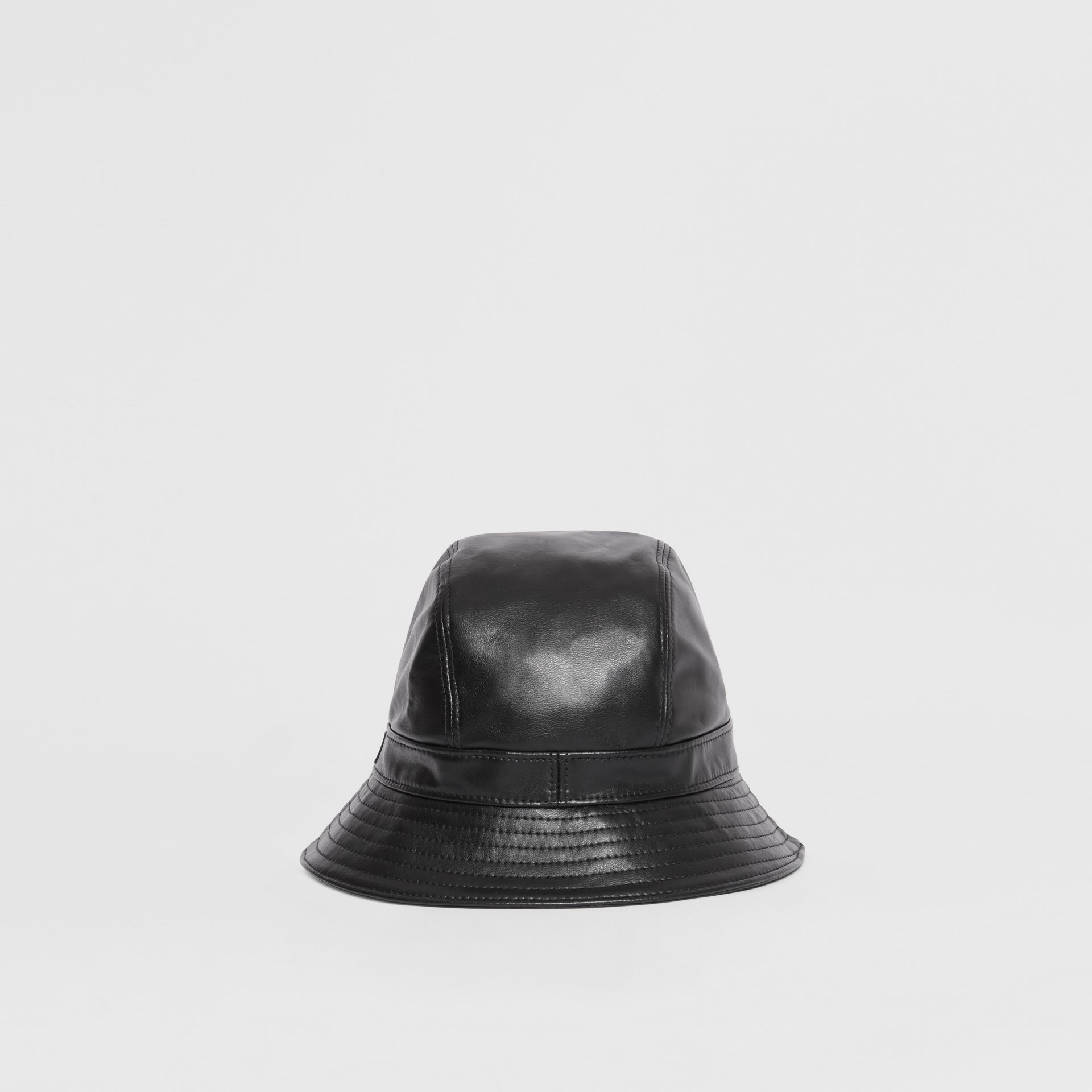 Logo Detail Faux Leather Bucket Hat in Black | Burberry - gallery image 4