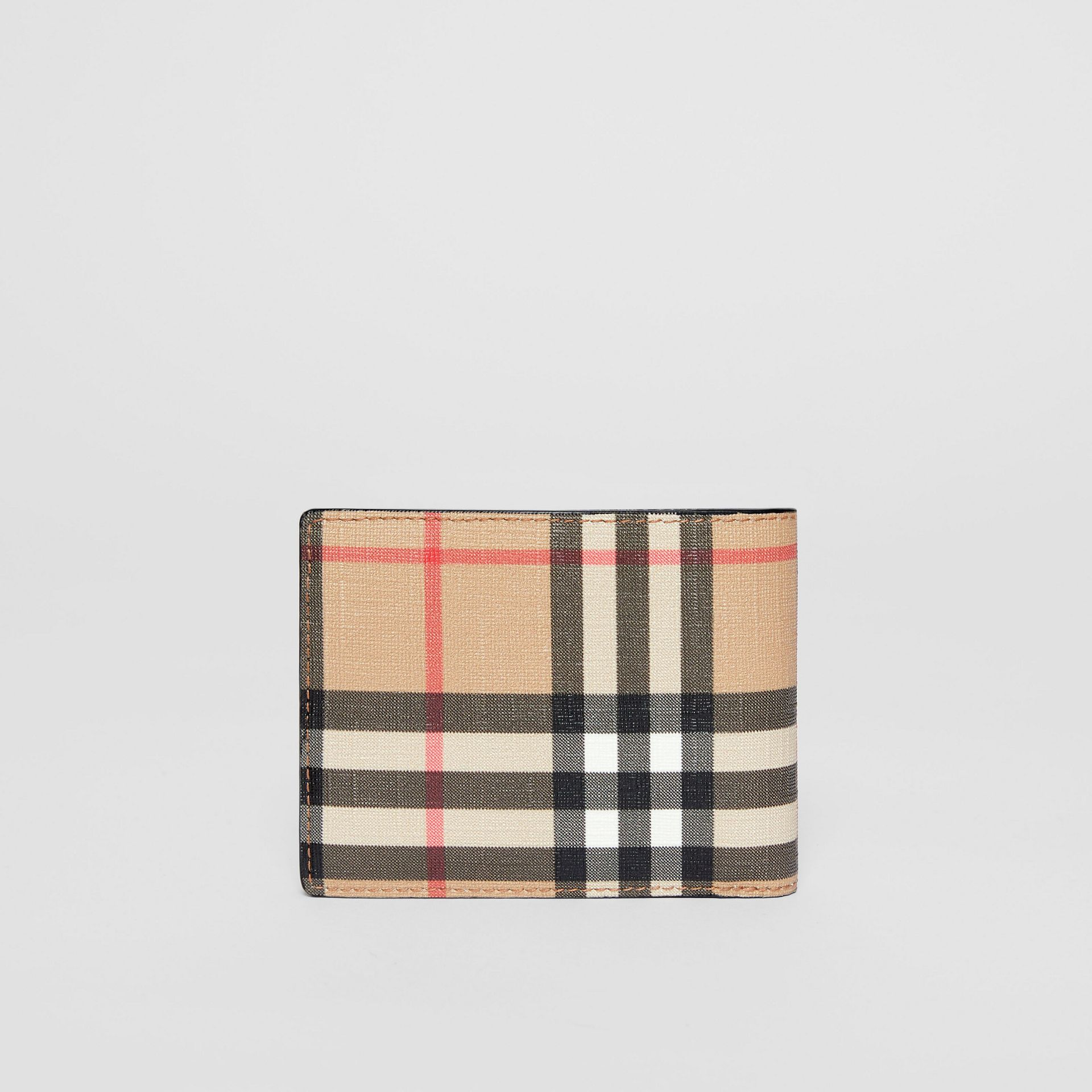 Vintage Check E-canvas and Leather Bifold Wallet in Archive Beige - Men | Burberry - gallery image 4