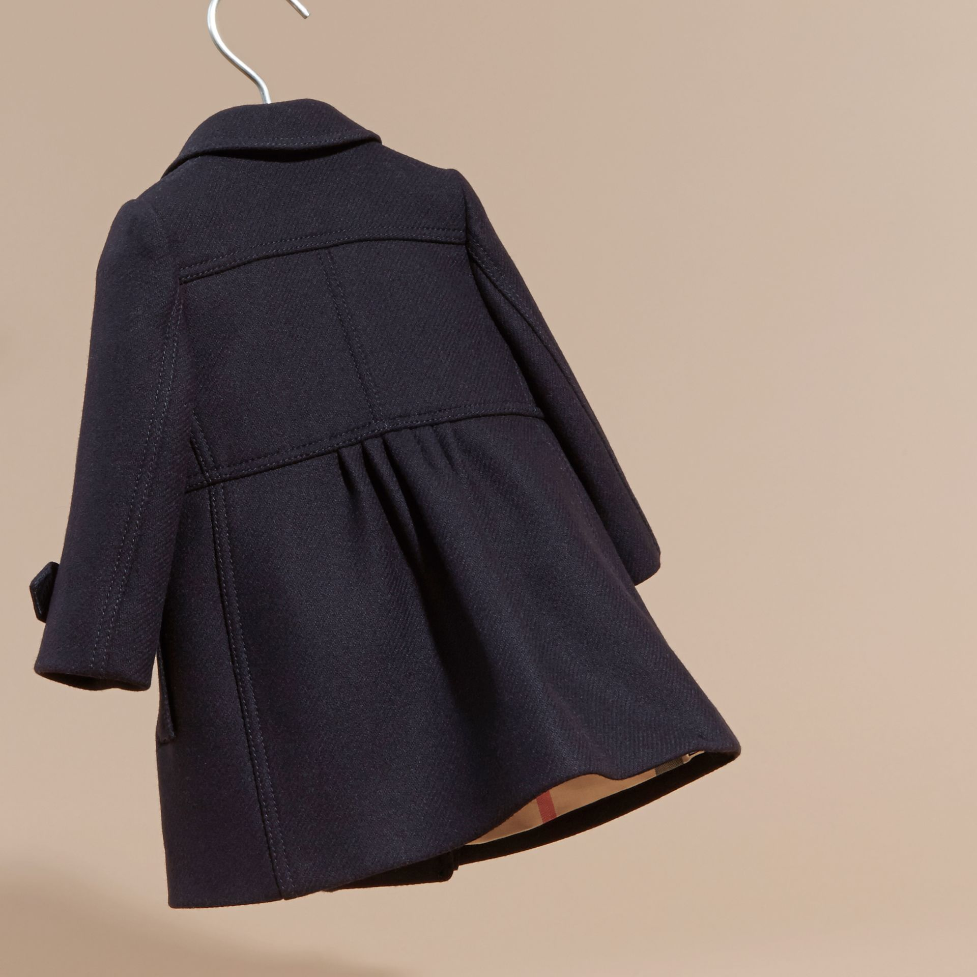Navy Tailored Wool Cashmere Blend Coat Navy - gallery image 4
