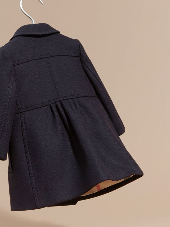 Tailored Wool Cashmere Blend Coat in Navy - cell image 3
