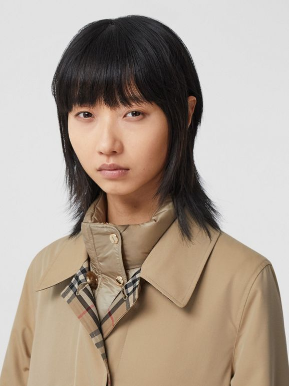 Reversible Cotton and Recycled Polyester Car Coat in Honey - Women   Burberry United States - cell image 1